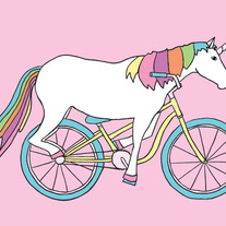 Unicorn riding bike, 5x7 print