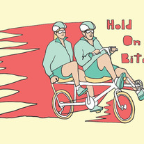 "Tandem bike ""hold on bitch"", 5x7 print"