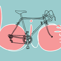 Pink and teal bike, 5x7 print