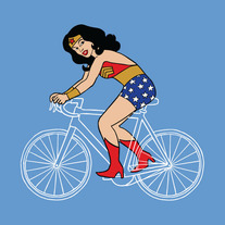 Wonder Woman on bike, 5x5 print