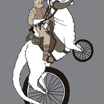 Luke riding tauntaun bike, 5x7 print