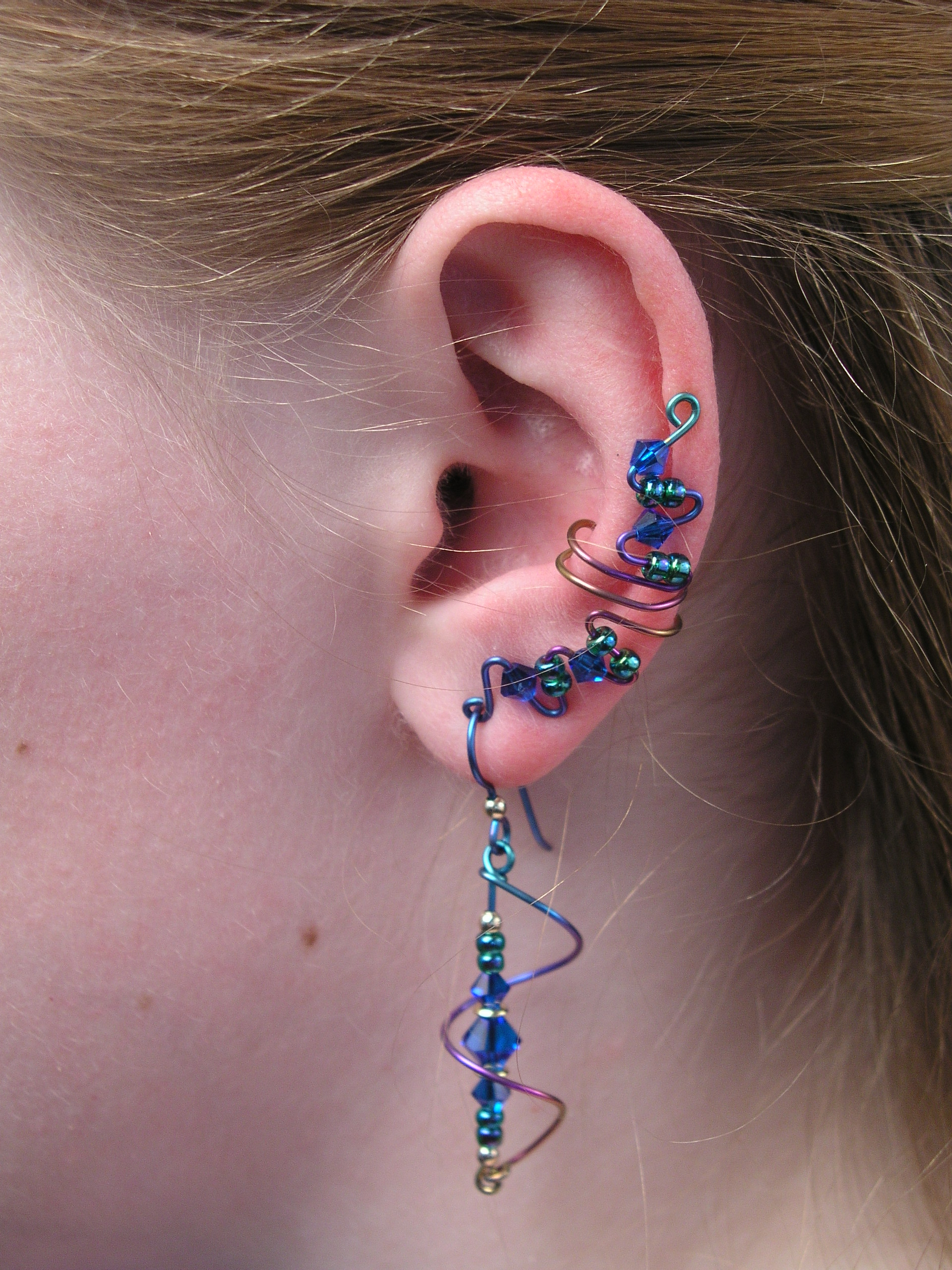Space Age Niobium Full Length Ear Cuff Set With Matching