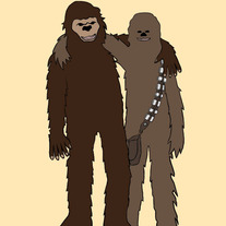 Bigfoot and Chewbacca are best friends, 5x7 print