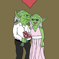 Mr and Mrs Yoda, 5x7 print