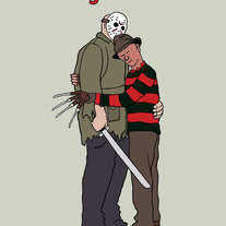 Freddy and Jason forgiveness, 5x7 print