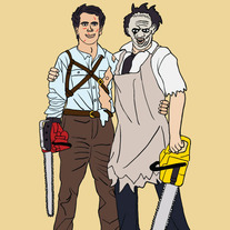 Ash and Leatherface best friends, 5x7 print