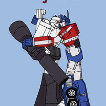 Optimus Prime and Megatron forgiveness, 5x7 print