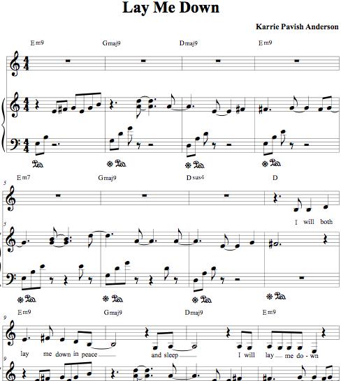 """Lay Me Down"" Piano/Vocal Sheet"