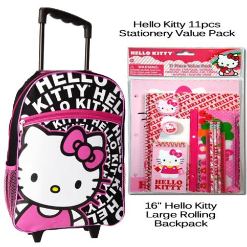 16 hello kitty large rolling backpack bundle on storenvy. Black Bedroom Furniture Sets. Home Design Ideas