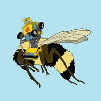 Bumble Bee riding a bee, 8x8 print