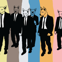 Reservoir dogs, as dogs, 5x7 print