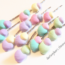 Pastel Sea Shells Bobby Pin Customs