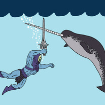 Skeletor fighting narwhal, 5x7 print