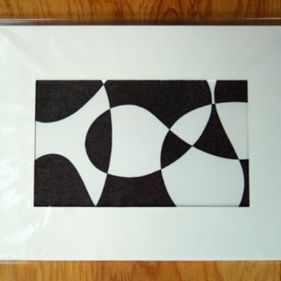 "Abstract pen and ink ""fins of summer"""