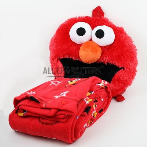 Sesame Street Elmo Face Plush Throw Blanket Red Star