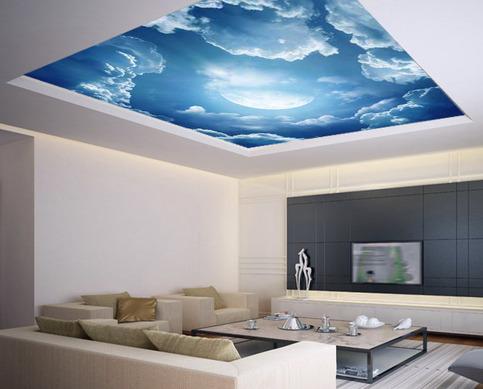 Ceiling Sticker Mural Air Moon Blue Clouds Decole Poster