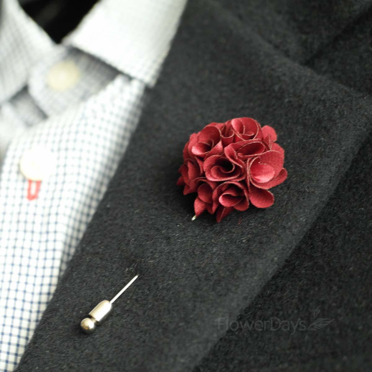 Satin Mini Bouquet MENS FLOWER Boutonniere Buttonhole For