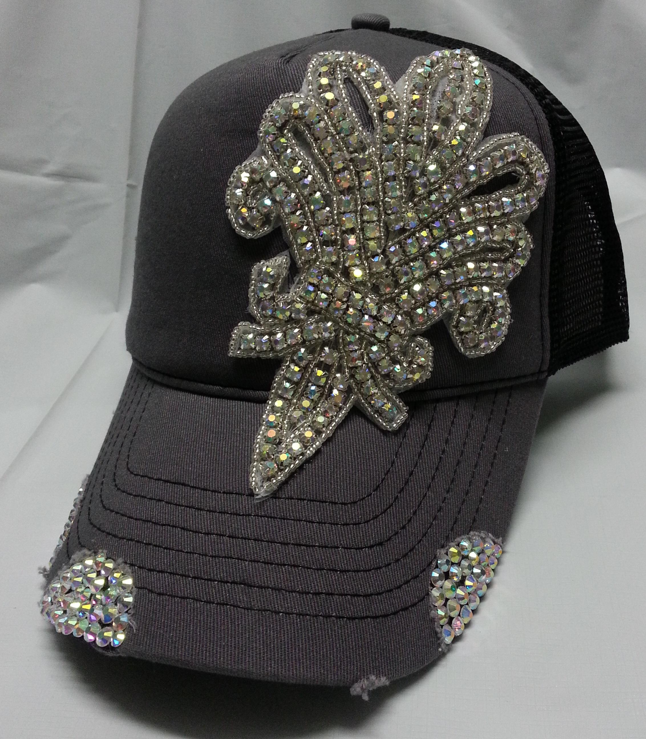 f55922f7253e9 Envy Gray   Black Bling Fleur Rhinestone Trucker Hat on Storenvy