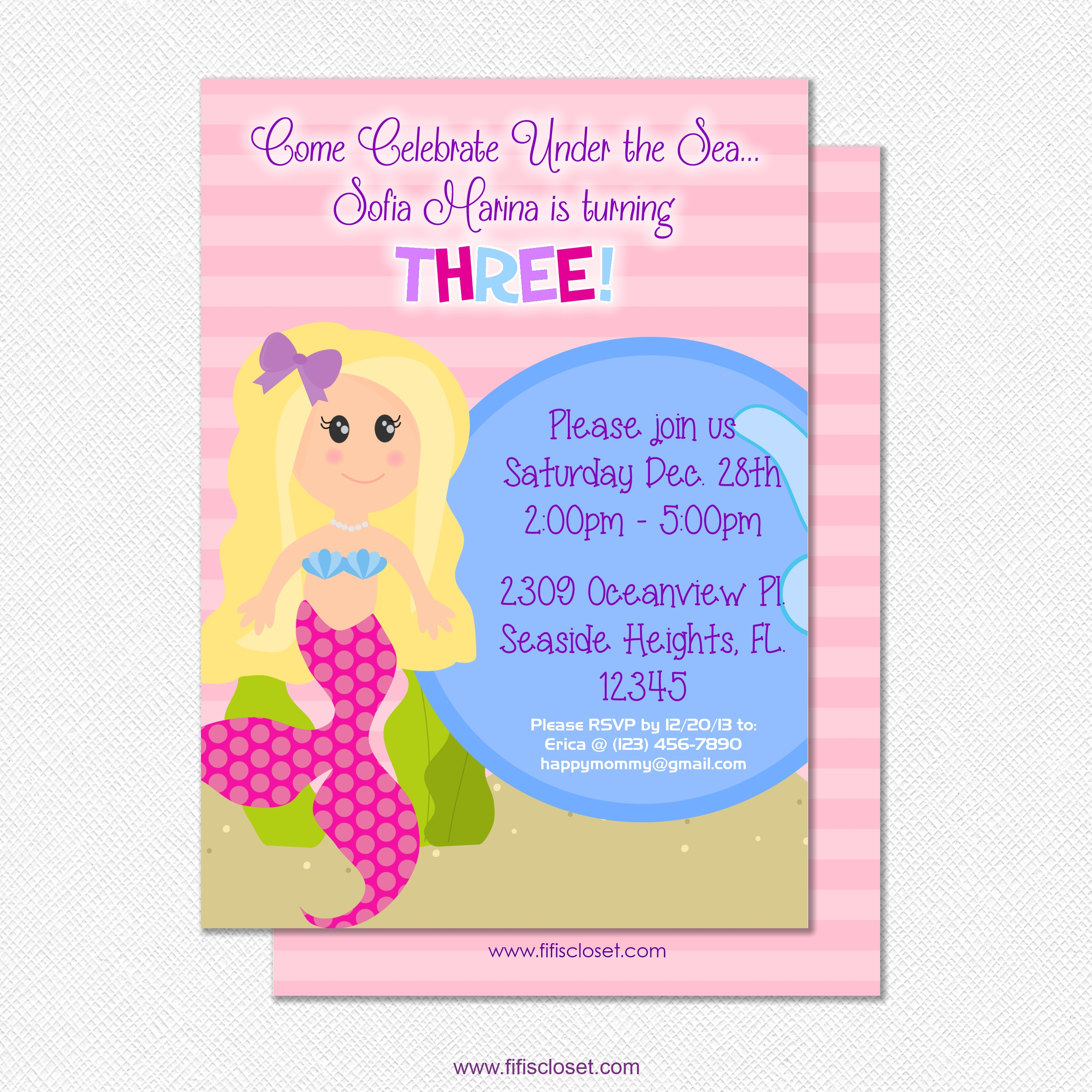 Personalized Pink Mermaid Party Birthday Invitation On Storenvy