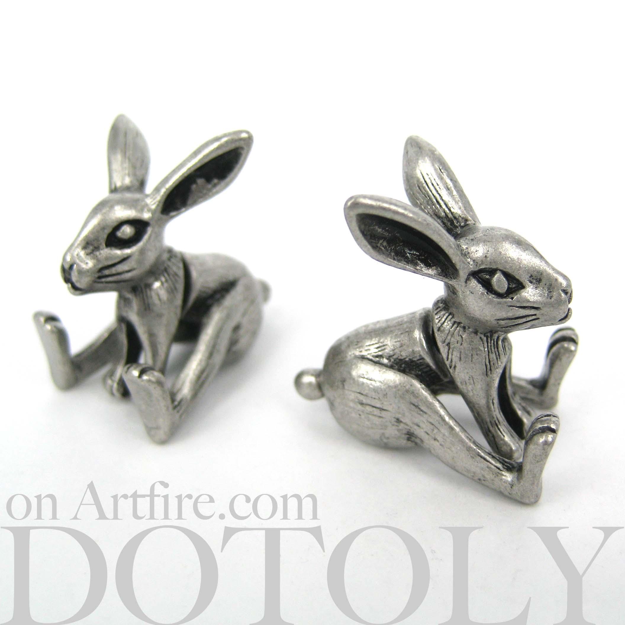 3d fake gauge realistic bunny rabbit animal stud earrings on storenvy