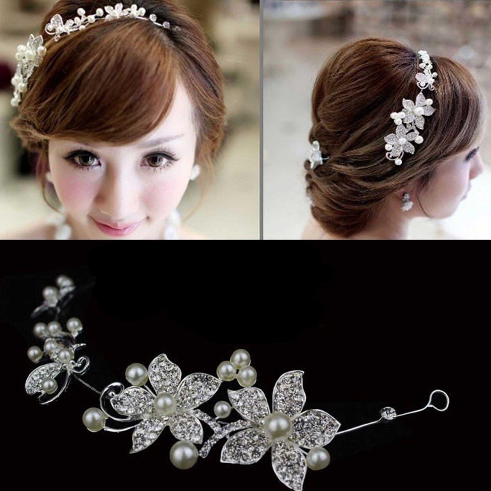 BRIDAL WEDDING BRIDES FLOWER IVORY PEARL RHINESTONE CRYSTAL