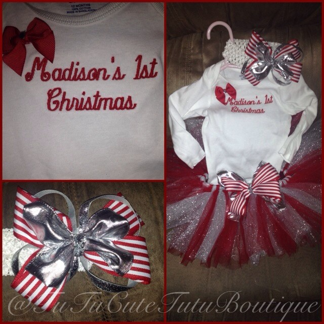 Christmas Tutu Outfits.Red And Silver 1st Christmas Custom Outfit Sold By Tutucute Tutu Boutique