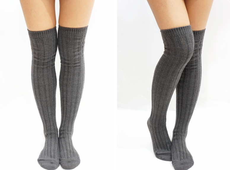 f1e844bc92fa3 Stripe Knitted Knee High Knee Socks - Dark Grey - Thumbnail 1 ...