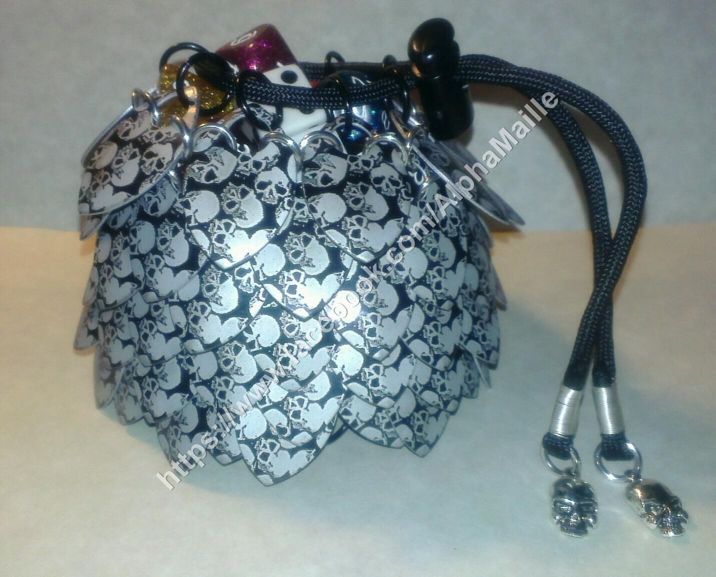 charon s soul dice bag laser engraved scalemaille chainmail