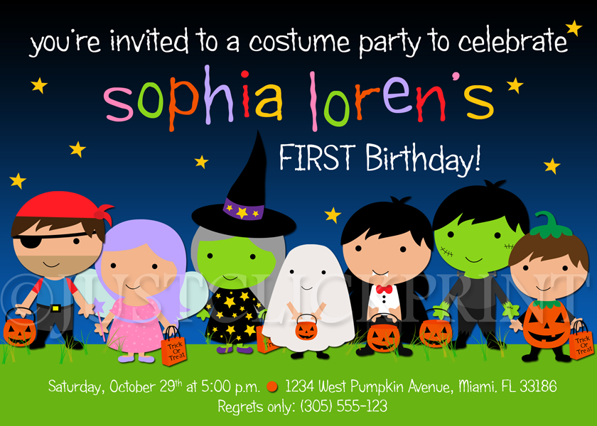 Kids Halloween Costume Party Birthday Invitation Printable
