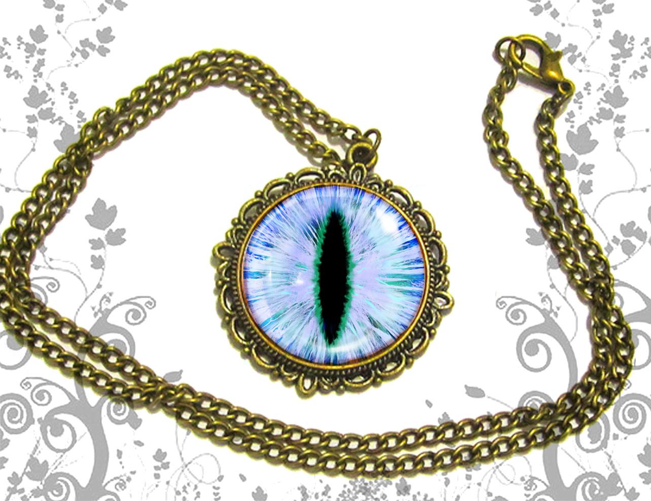 32dc575de2c3bc Blue cat eye necklace pendant dome glass bronze antique on Storenvy