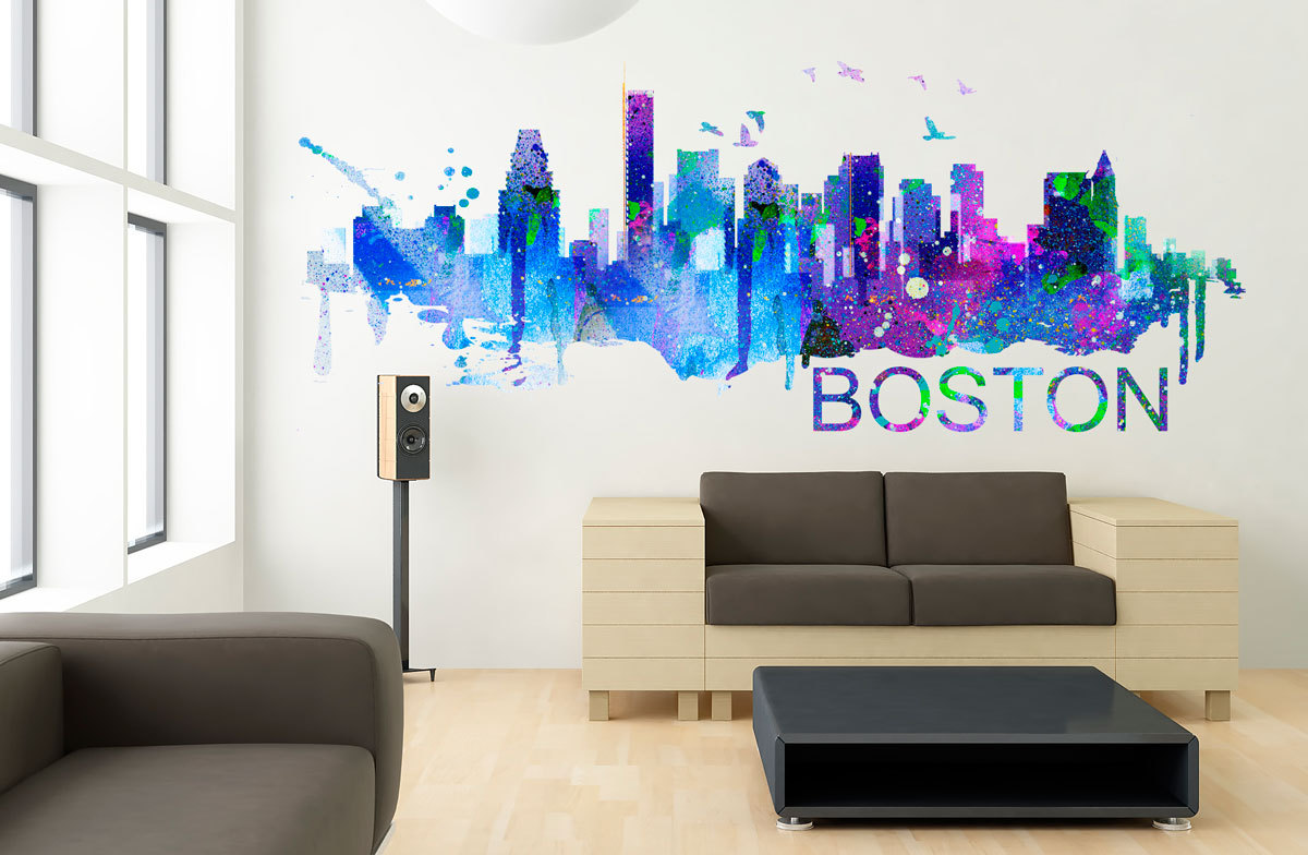 3d Wall Stickers Online Boston Art Skyline Watercolor Decal Sticker