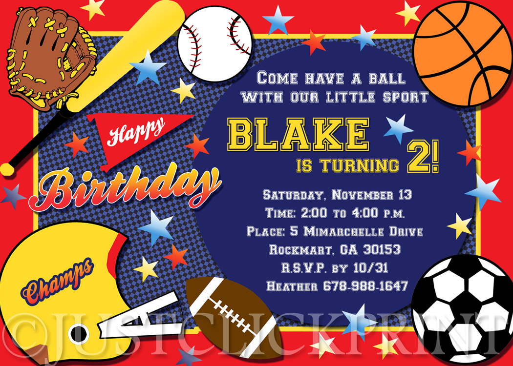 All Star Sports Birthday Party Photo Invitation Printable Just
