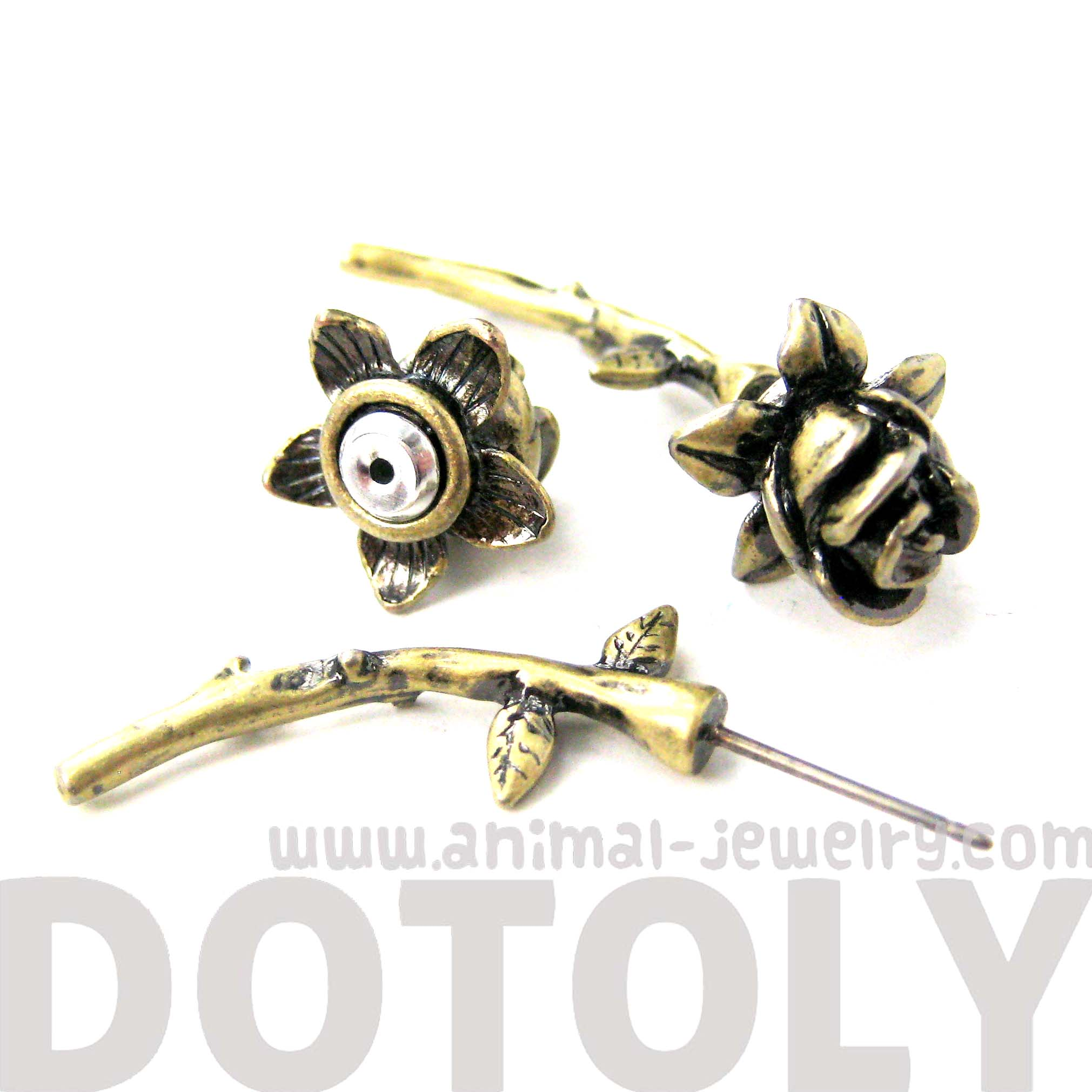 gauges that look like earrings flower shaped stud earrings in brass 8221