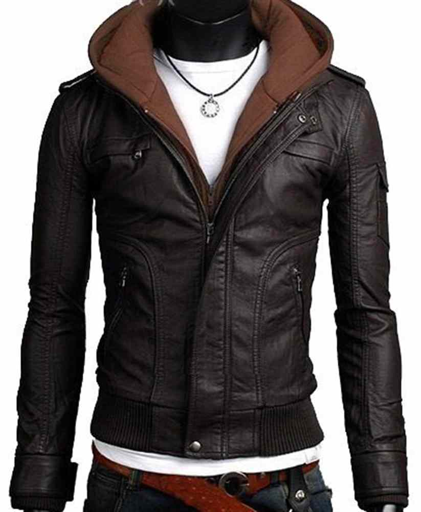 Men leather jacket, men brown fabric hooded leather jacket on Storenvy