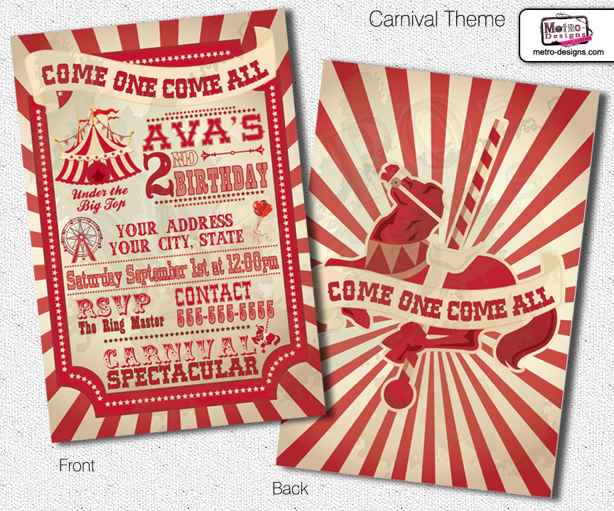 Vintage Carnival Birthday Invitations