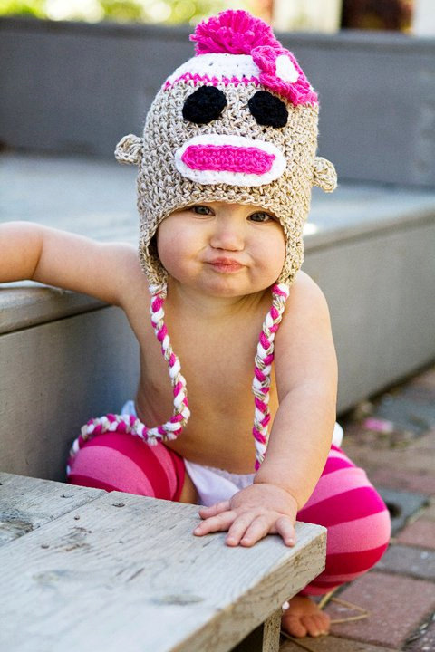 75523e77209b5 Sock Monkey Hat Crochet for Girls in Marl Brown and Hot PInk - Newborn
