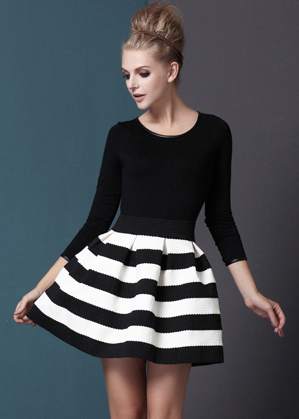 Blackwhite Stripes Long Sleeves Zigzag Dress On Storenvy