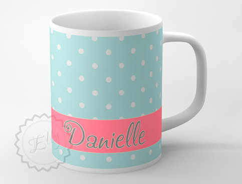 Personalized Coffee Cup Baby Blue Small Polka Dots With