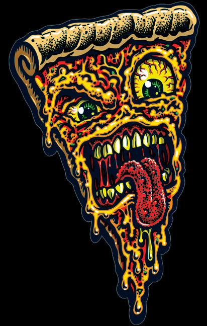 Pizza Face Full Color Shaped Vinyl Sticker From Jimbo Phillips Webstore