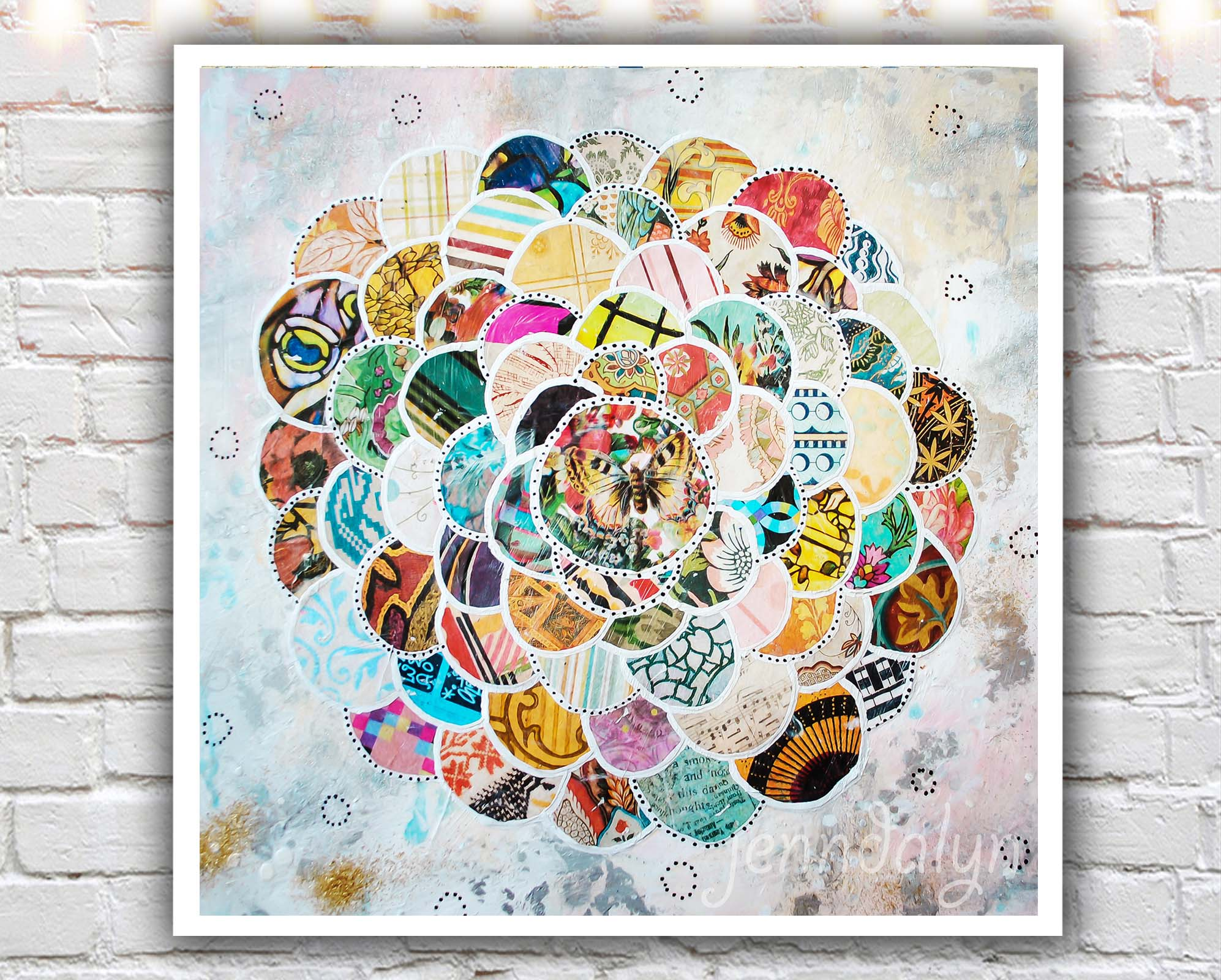 Springbloom 10 X 10 Paper Print Mixed Media Collage Art Collage