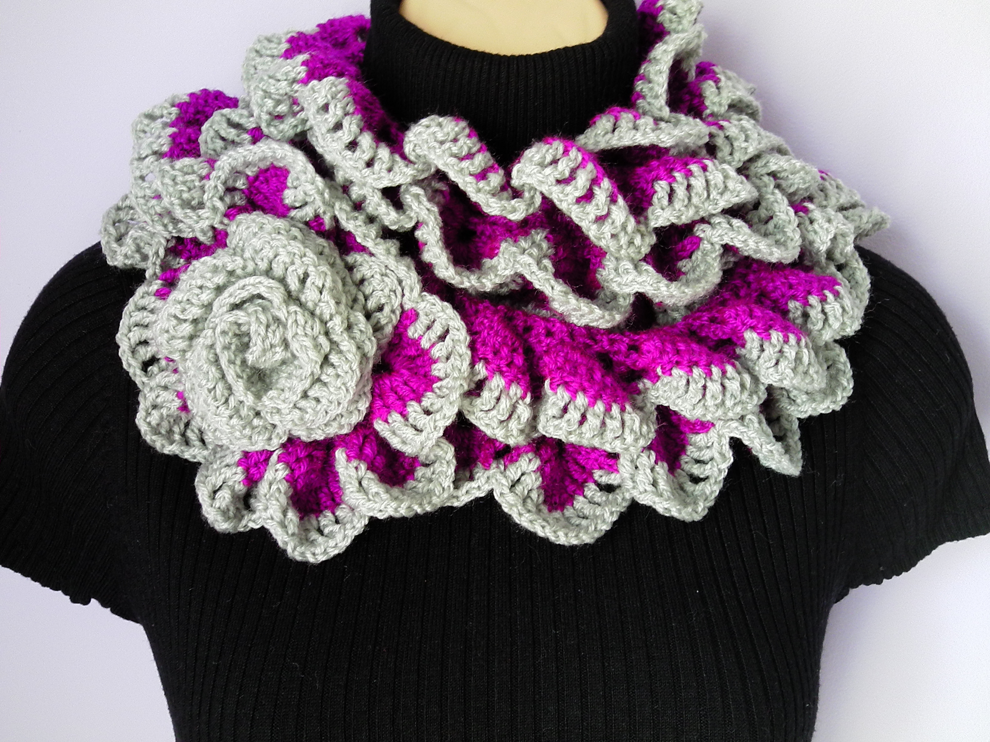 032a19066d0 Crochet Scarf with Flower Brooch / Neckwarmer / Ruffle Scarf