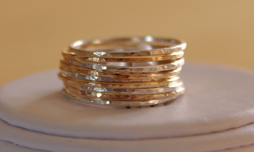 0a6259f9f1e set of 9 sterling silver & gold filled stack/ gold stacking rings ...