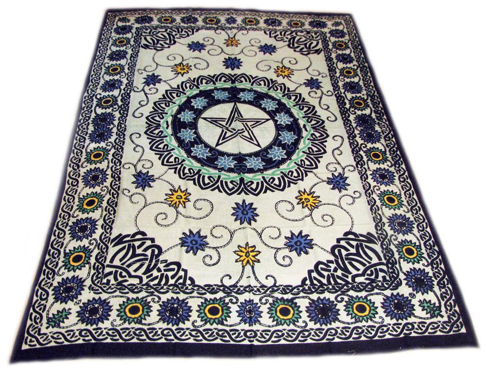 Pentacle Pentagram Floral Flowers Celtic Wicca Altar Cloth