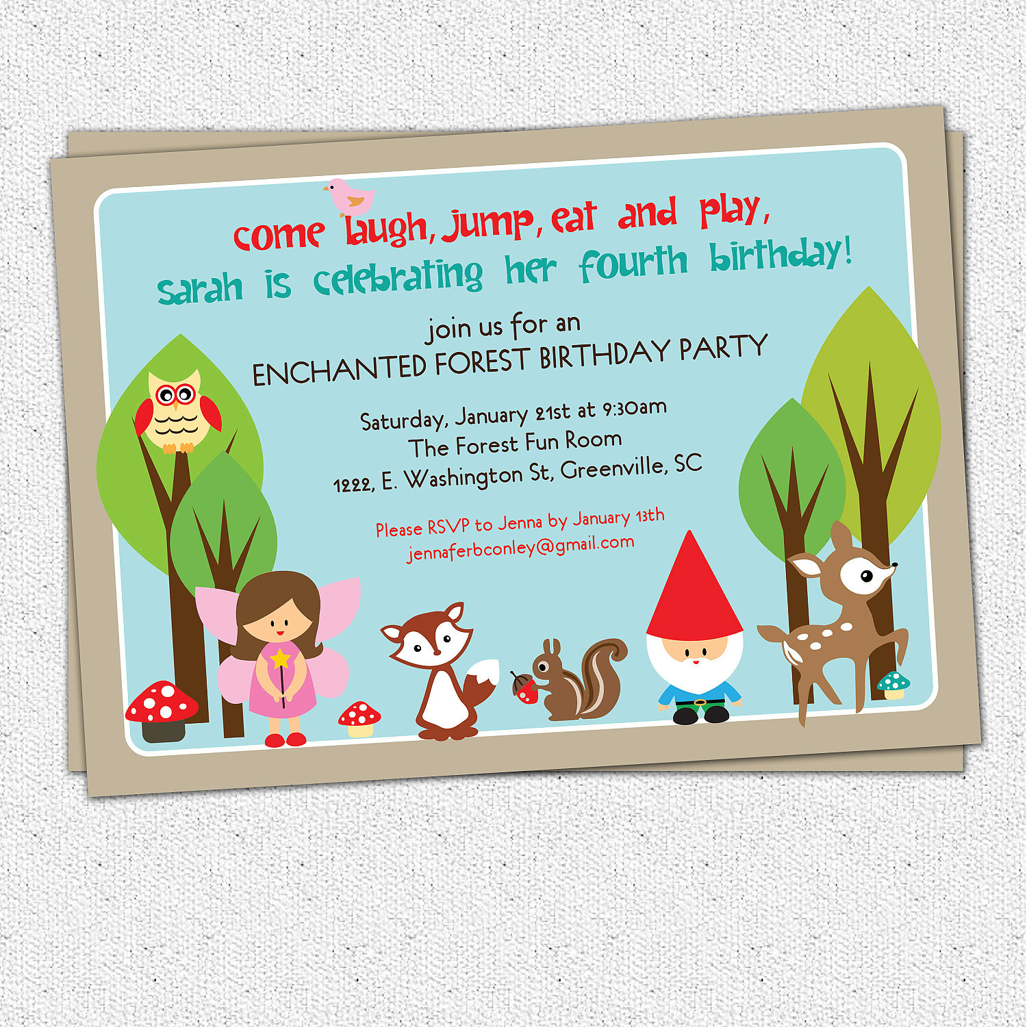 Woodland Birthday Invitations Enchanted Forest Fairy Gnome Deer