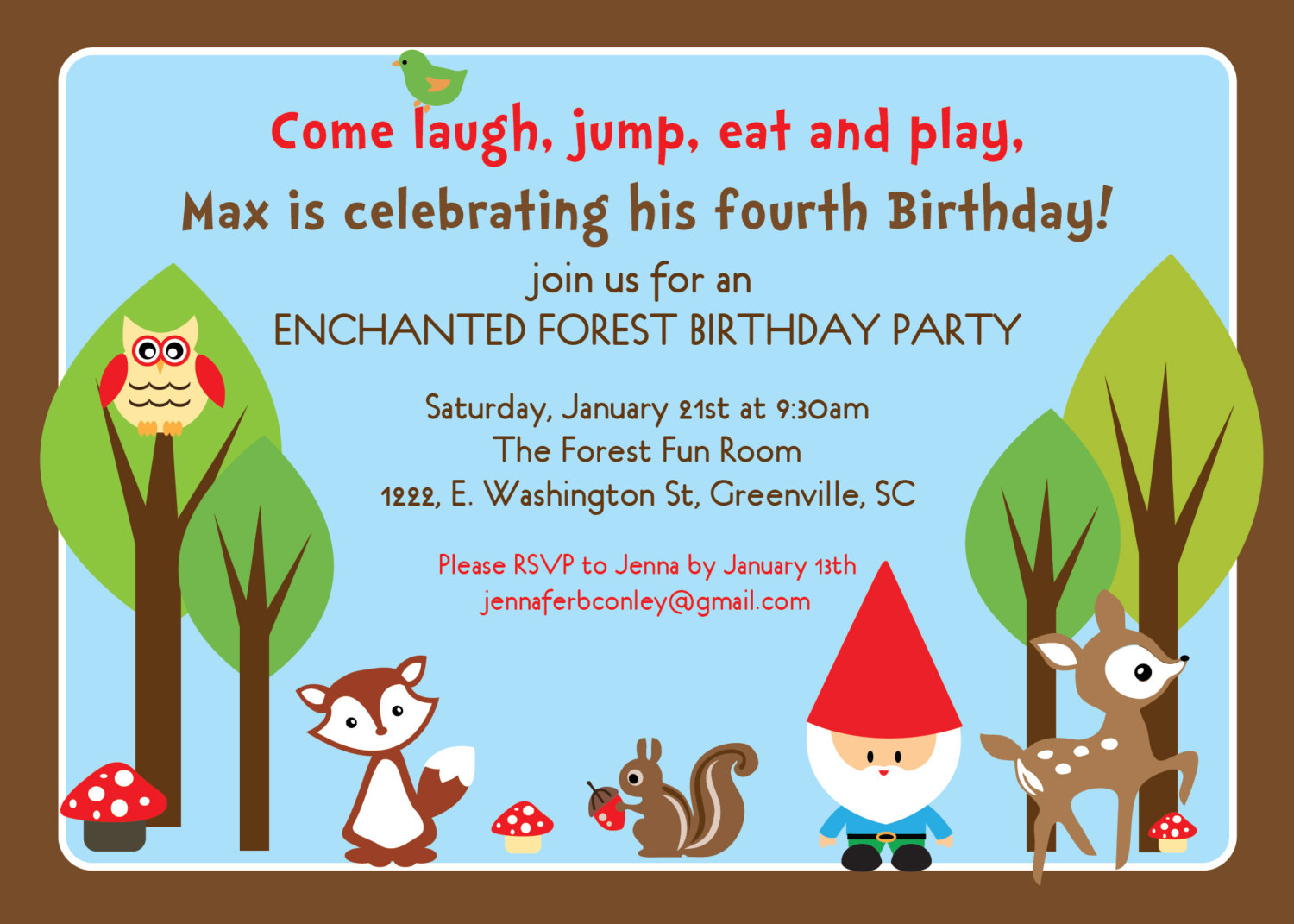 Woodland birthday invitations enchanted forest gnome boy girl il fullxfull320358614 small filmwisefo