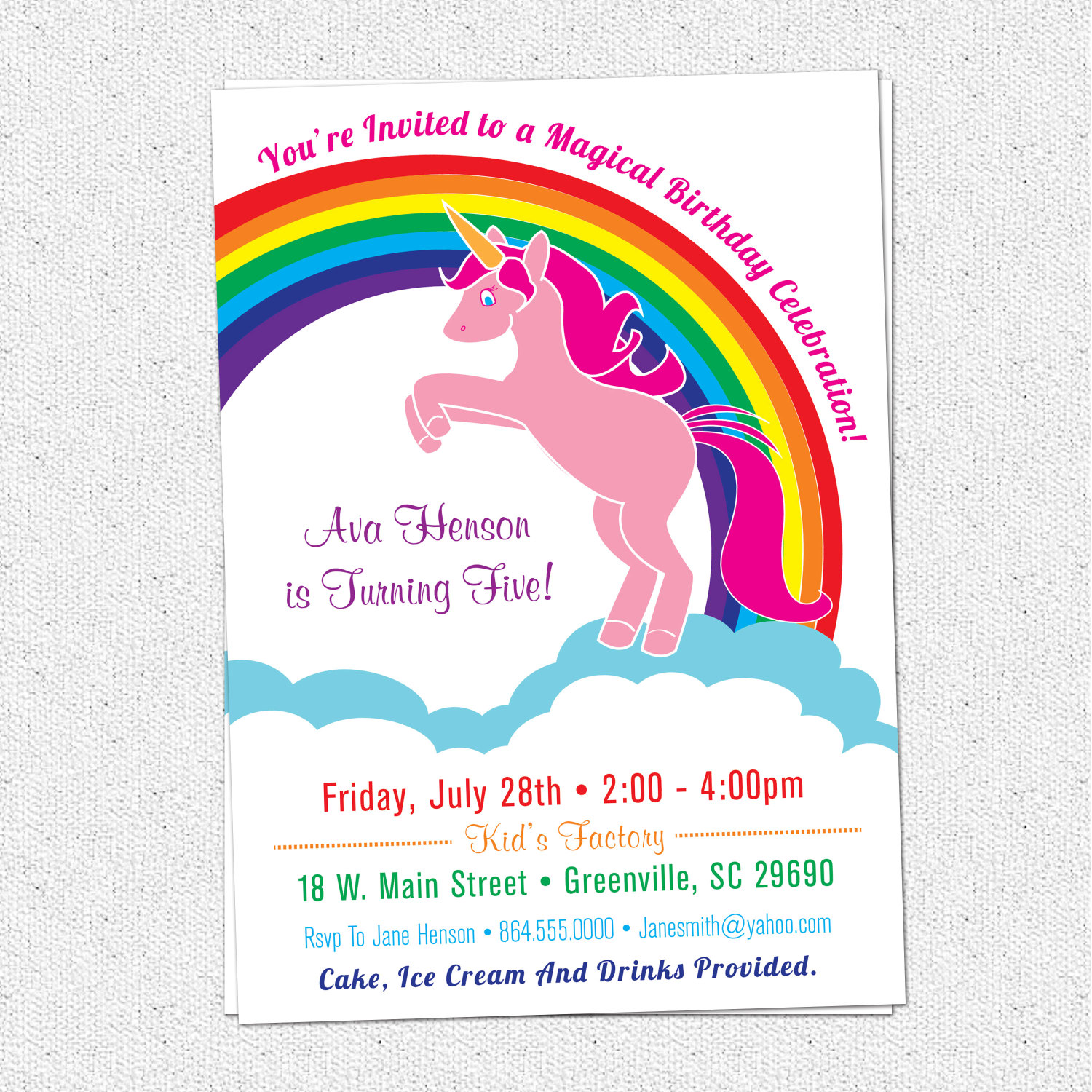 Unicorn Birthday Party Invitations, Rainbow, Pink, Pony, Girl ...