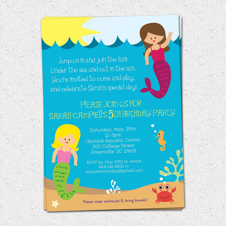 Mermaid Birthday Party Invitation Girl Under The Sea Life Creatures Summer