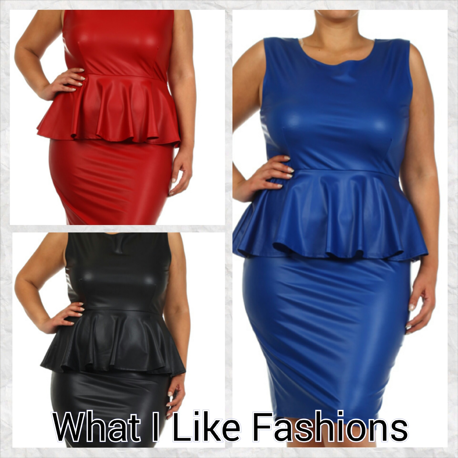 Faux Leather Plus Size Peplum Dress sold by WHAT I LIKE FASHIONS