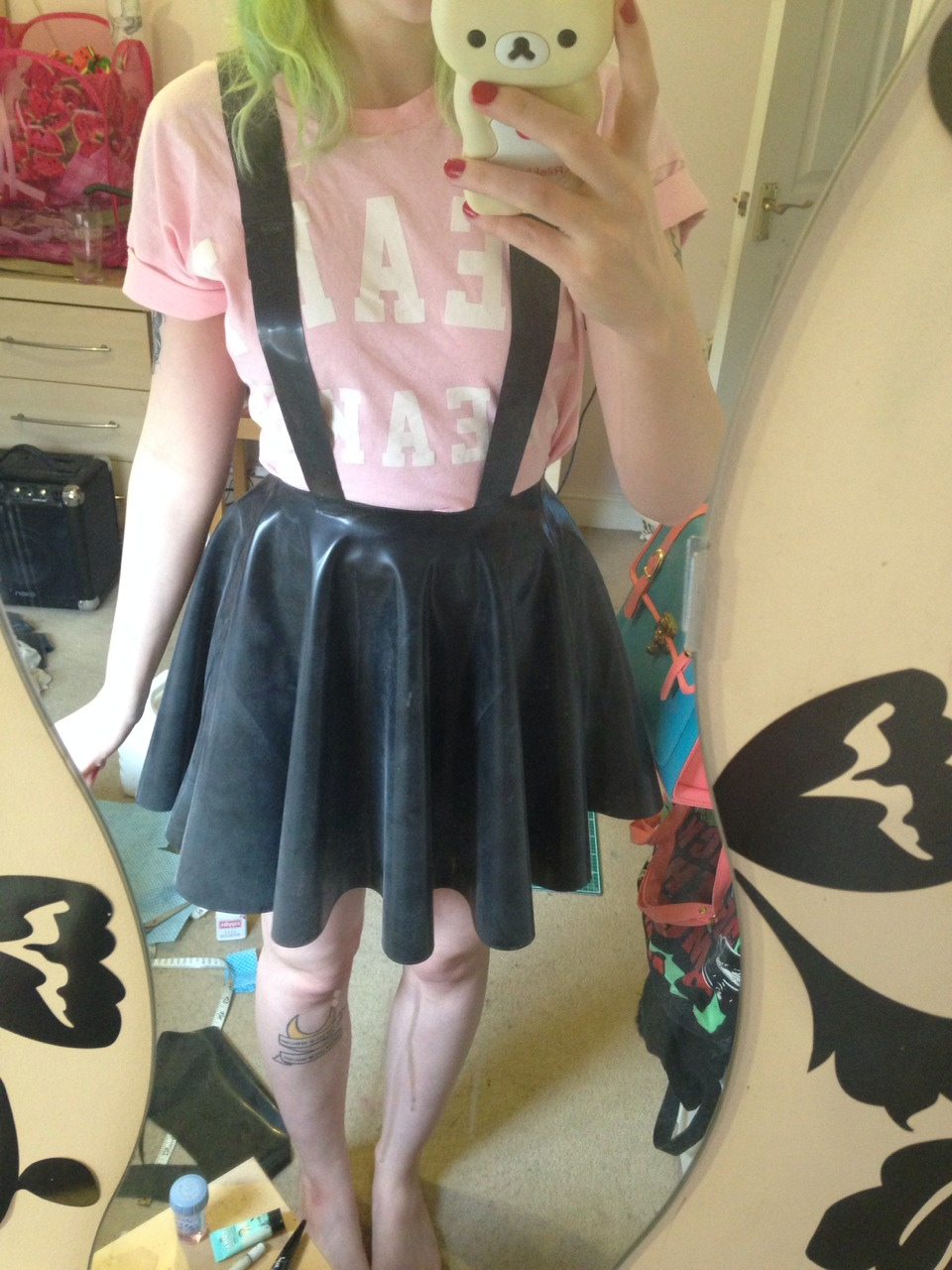 8b3d30fe2 Latex circle skirt with suspenders on Storenvy