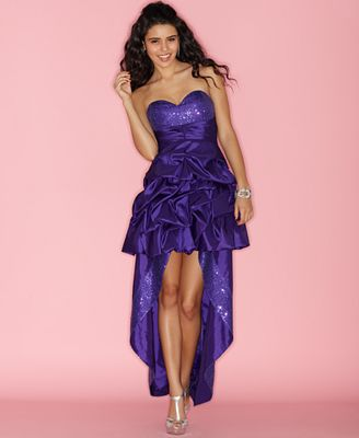 14a06c37f85 Hailey Logan Strapless Sweetheart Gathered Removable Skirt Juniors ...